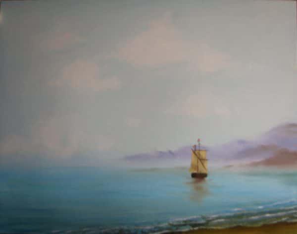Корабль на бирюзовом море