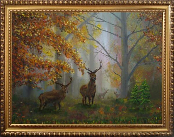 картина олени в осеннем лесу 2