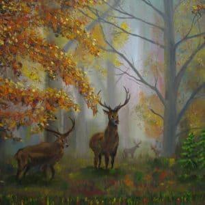 картина олени в осеннем лесу