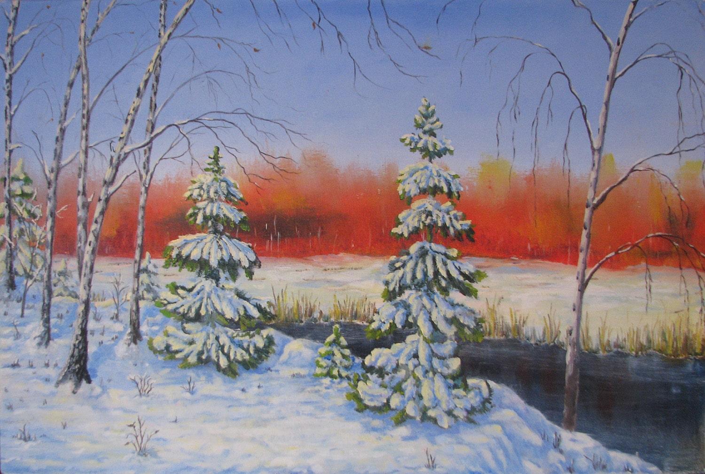 Картина ранняя зима