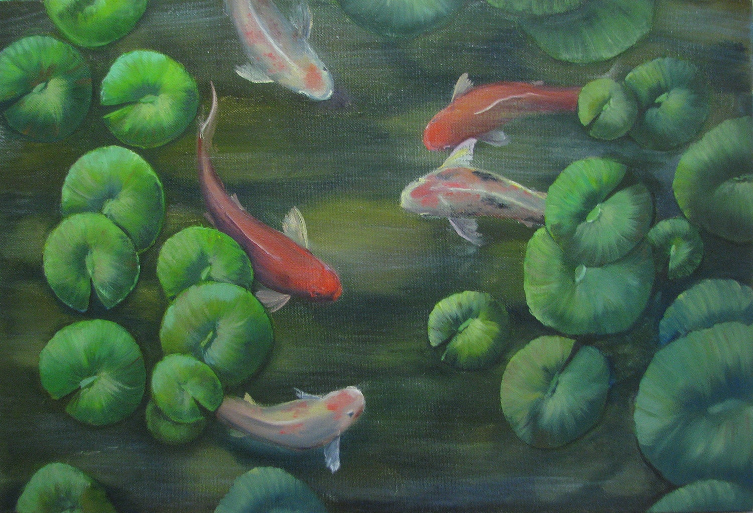 The oil painting long size 40 60 koi fish andrew pugach for Koi fish size