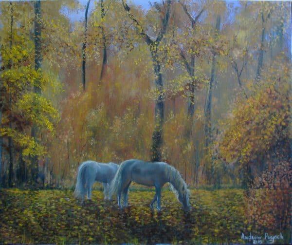 лошади в осеннем лесу