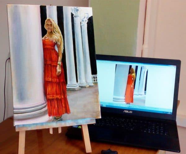 картина девушка в красном платье