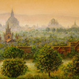 закат над древним городом Баган картина