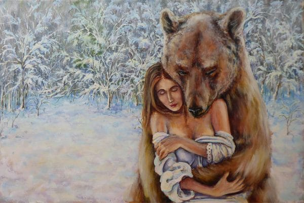 картина нежность девушка с медведем