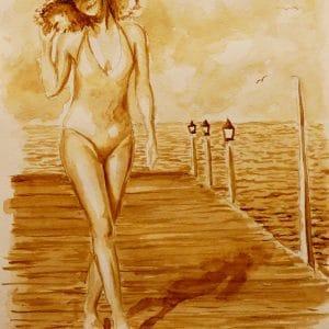 прогулка у моря картина кофейная