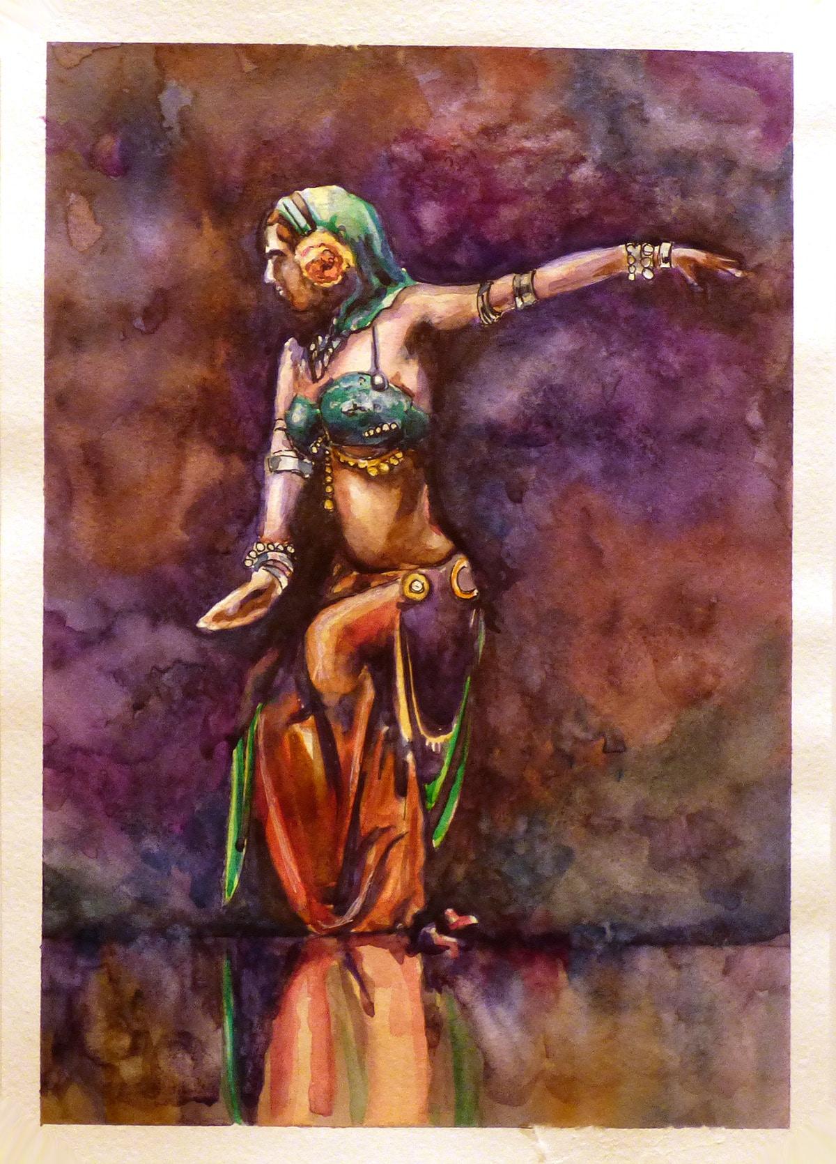 Акварель танцующая девушка