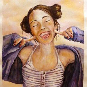 Картина акварелью Веселая