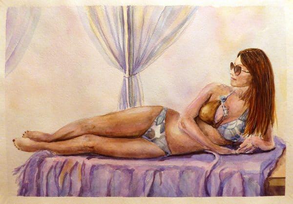 Картина акварелью отдых в тени
