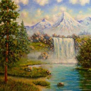 Картина горы и водопад