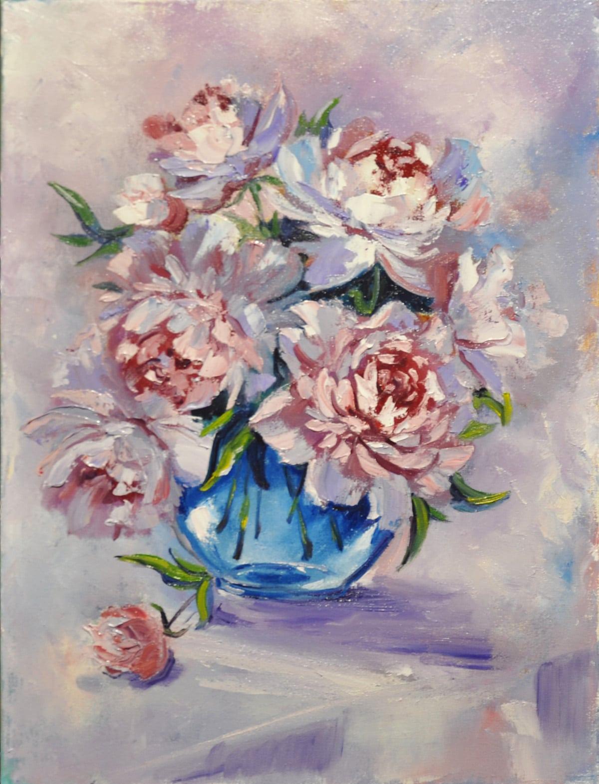 картина пионы в вазе
