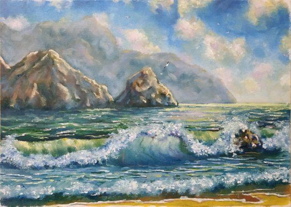 Этюд маслом морской