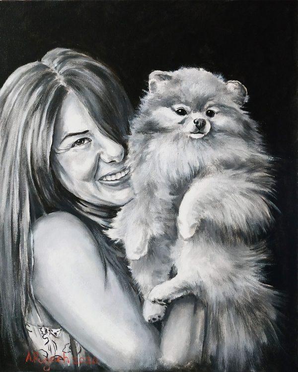портрет маслом девушка со шпицем
