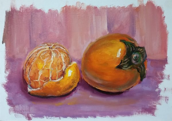 этюд с мандарином и хурмой