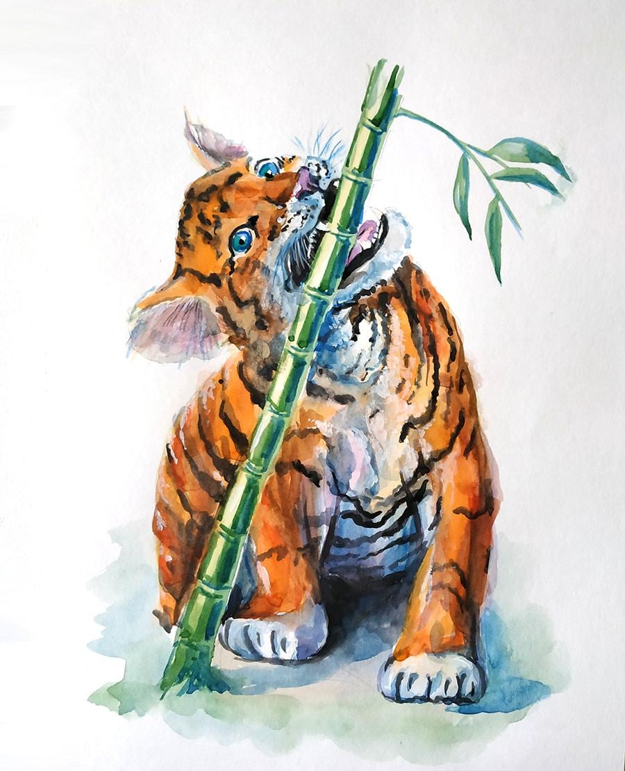 акварель храбрый тигренок