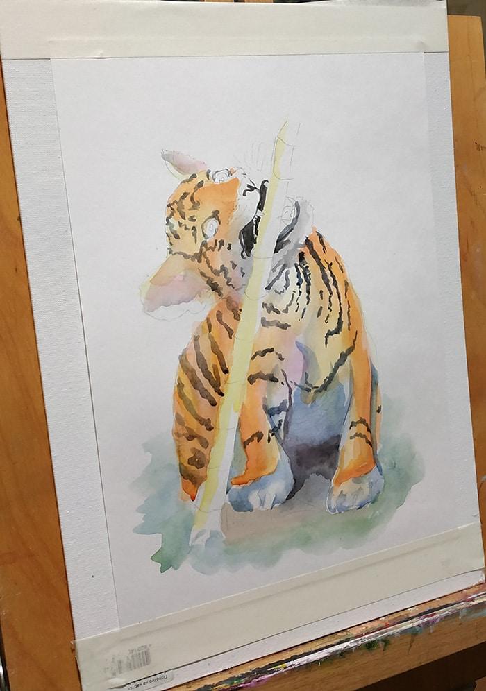тигреня як малювати аквареллю