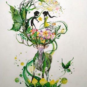 Казковий олень картина акрилом і олійними фарбами